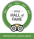 Trip Advisor 2015 Hall of Fame - Certificate of Excellence